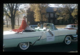 Ball State Teachers College homecoming queen in parade, 1956