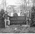 Grissom AFB students gathered around Ball State University sign