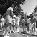 Ball State Teachers College students playing tennis