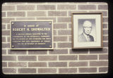 Showalter Building dedication plaque and photo