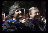 Deans Neil Palomba and Theodore Kowalski at Ball State University spring commencement, 1986