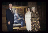 Pres. John J. Pruis and family at portrait unveiling