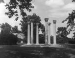 Columns of burned house of F. C. Ball; E. B. Ball Center outbuilding in background