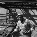 Worker at the J.C. Penney building construction site