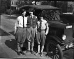Girls in Knickers beside automobile (L-R: Sarah Hupp Pippen, Gladys Piepho Dick, Osa...