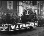 W. A. McNaughton Company float with Santa in Christmas parade