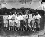 Golfers at State Amateur Golf Tournament, left to right:  Fred Durham, Fred Jones, Archer Sampson,...