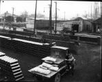 Court Supply and Coal Yard, view of bricks, tiles and storage sheds