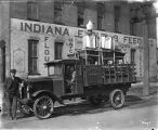 A. G. Handley Trucking Company, truck hauling cream separators, parked in front of Indiana Flour...